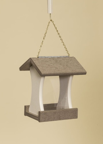 Poly Wood Mini Bird Feeder - Weatherwood Roof & Floor/Ivory Side Walls