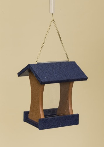 Poly Wood Mini Bird Feeder - Navy Blue Roof & Floor/Cedar Side Walls