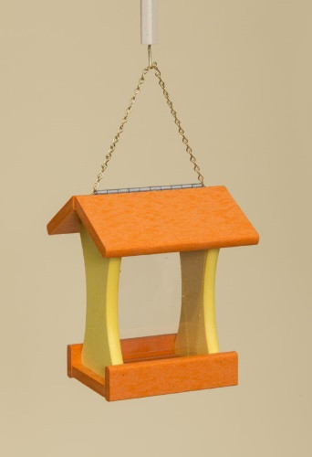 Poly Wood Mini Bird Feeder - Orange Roof & Floor/Yellow Side Walls