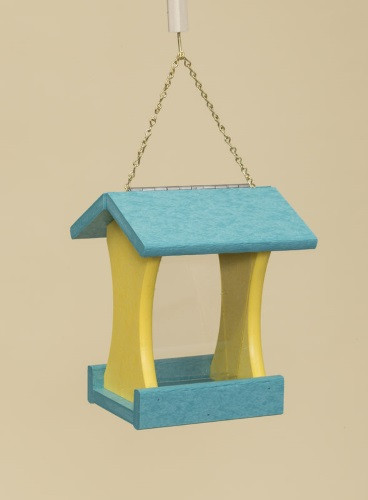 Poly Wood Mini Bird Feeder - Turquoise Roof  & Floor/Yellow Side Walls