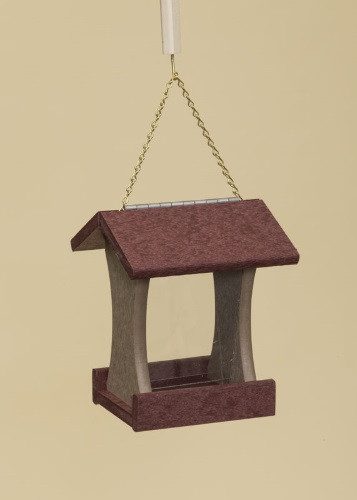 Poly Wood Mini Bird Feeder - Cherry Wood Roof & Floor/Weatherwood Side Walls