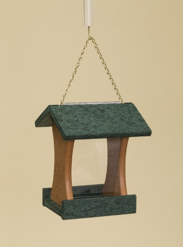Poly Wood Mini Bird Feeder - Turf Green Roof & Floor/Cedar Side Walls