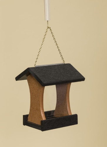 Poly Wood Mini Bird Feeder - Black Roof & Floor/Cedar Side Walls