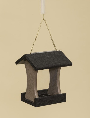 Poly Wood Mini Bird Feeder - Black Roof & Floor/Weatherwood Side Walls