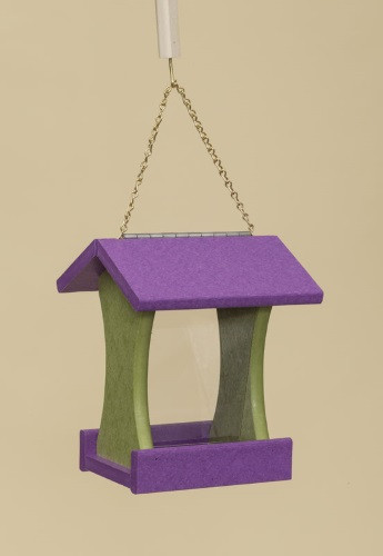 Poly Wood Mini Bird Feeder - Purple Roof & Floor/Lime Green Side Walls