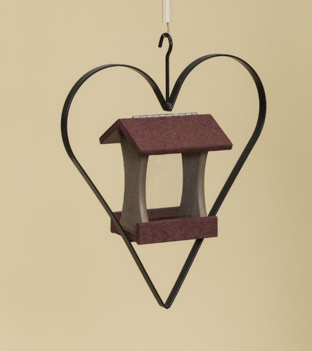 Poly Wood Mini Bird Feeder with Heart - Cherry Wood Roof & Floor/Weatherwood Side Walls