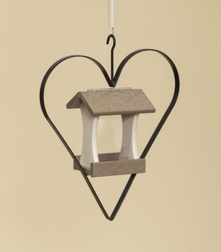 Poly Wood Mini Bird Feeder with Heart - Weatherwood Roof & Floor/Ivory Side Walls