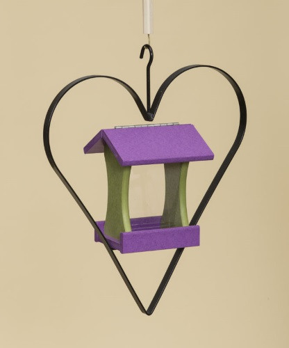 Poly Wood Mini Bird Feeder with Heart - Purple Roof & Floor/Key Lime Side Walls