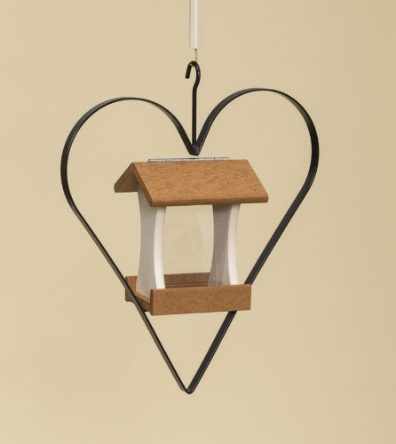 Poly Wood Mini Bird Feeder with Heart - Cedar Roof & Floor/Ivory Side Walls