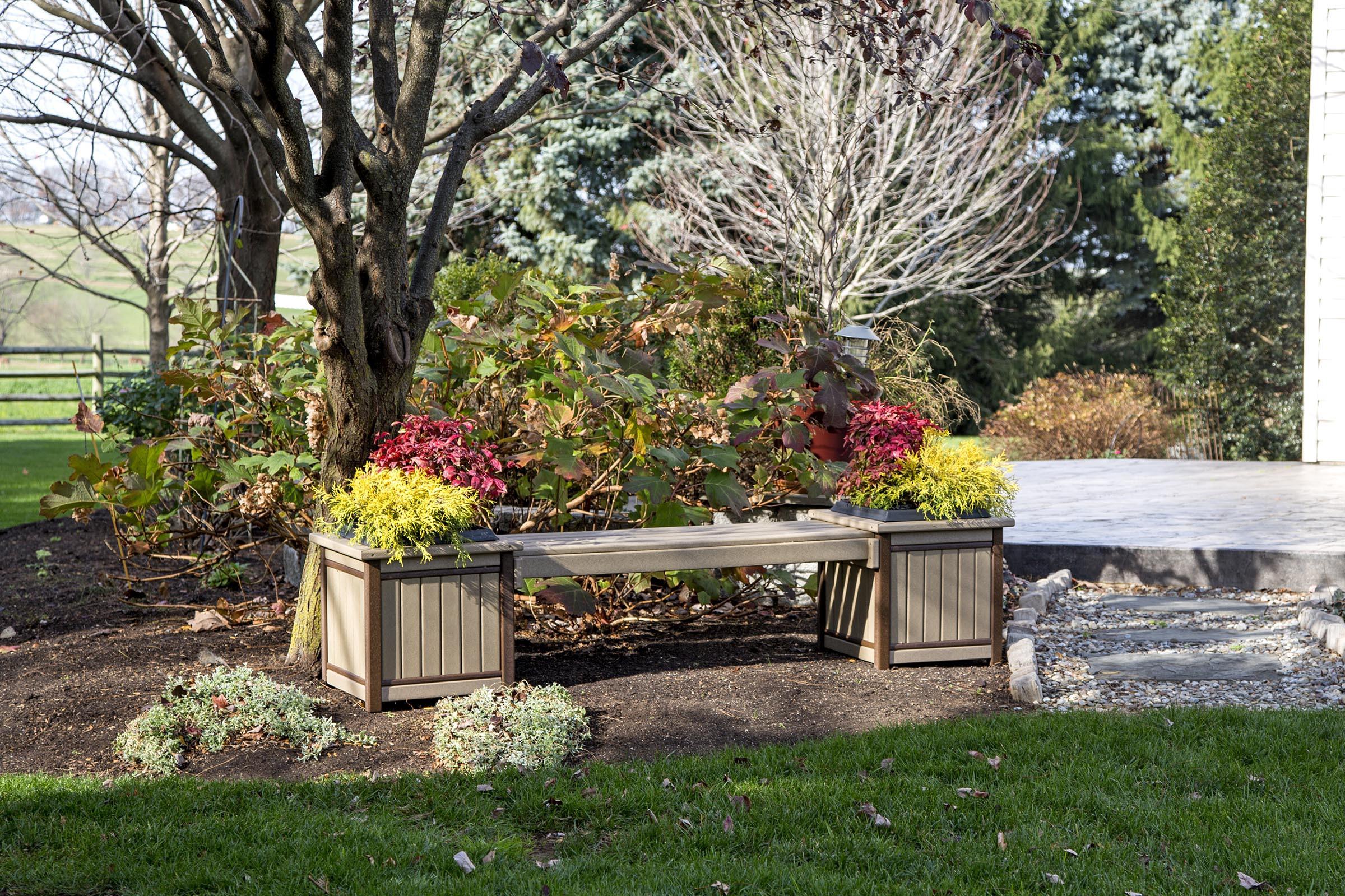 Poly Planter Bench - Weatherwood & Brown
