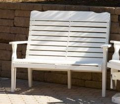 Poly Curve Back Bench - White