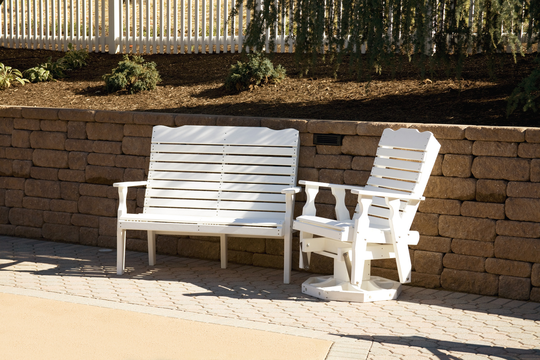 Poly Curve Back Bench - White (Glider sold separately)