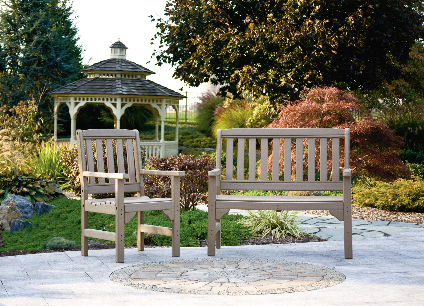 Poly English Garden Bench - Weatherwood (Chair sold separately)
