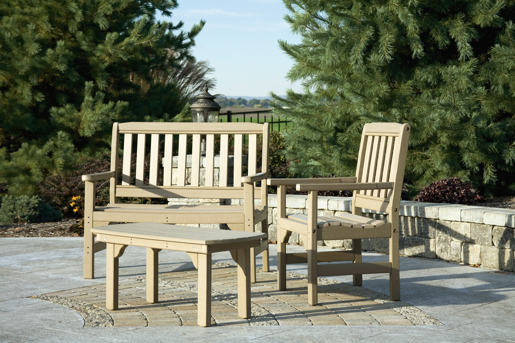 Poly English Garden Bench - Weatherwood (Chair & Table sold separately)