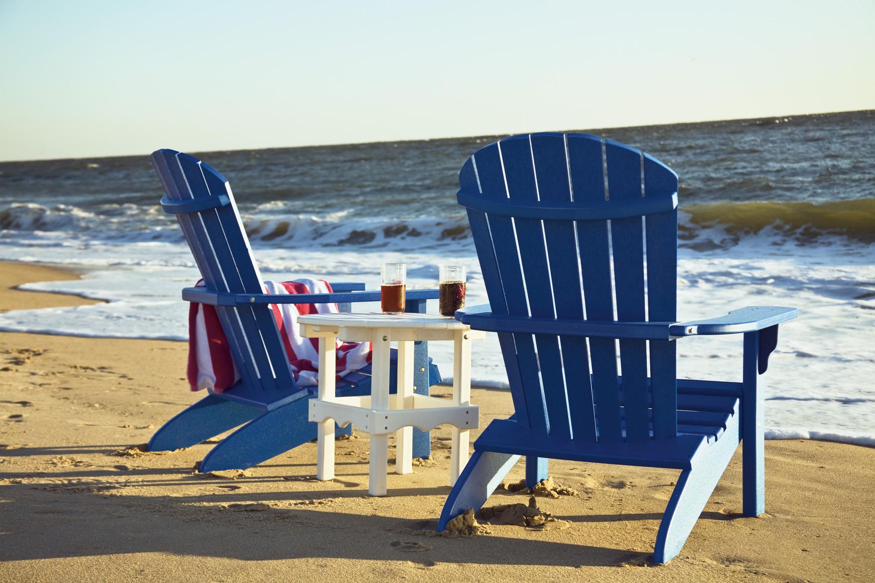 Fan Back Polywood Adirondack Chairs - Blue