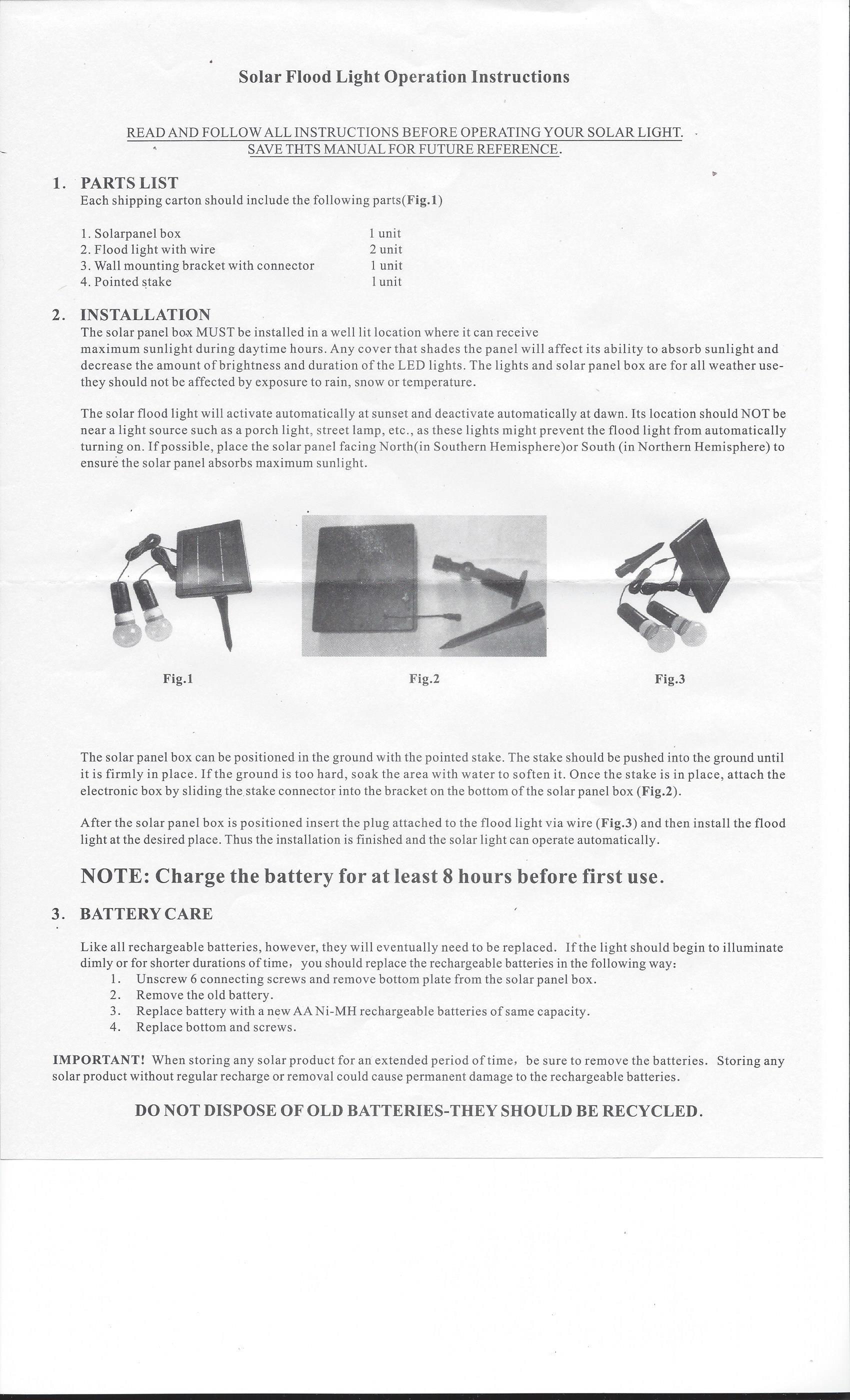 Solar Powered Lighting Kit for Lighthouses - Instructions