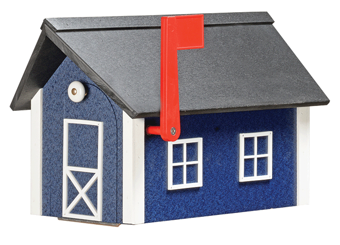 Deluxe Standard Poly Barn Mailbox - Patriot Blue & White - Black Roof