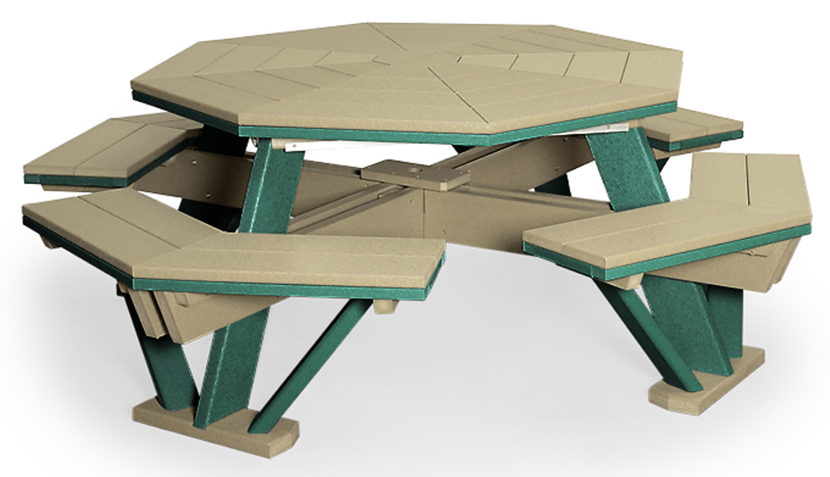 "52"" Poly Octagon Table with Benches Attached - Weatherwood & Evergreen"