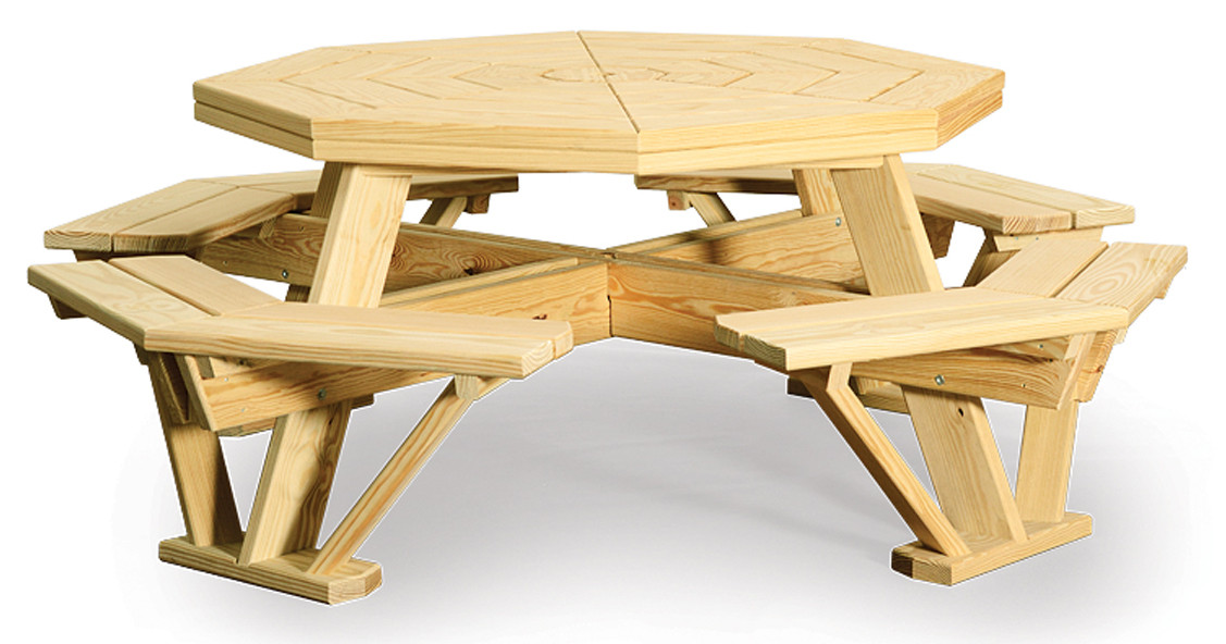"""52"""" Octagon Table with Benches Attached - Pressure Treated Pine"""