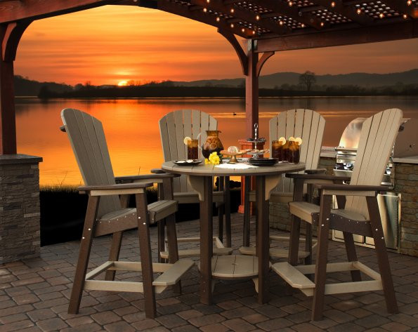 Great Bay Poly Bar Chair - Weatherwood & Brown - Round Bar Table sold separately
