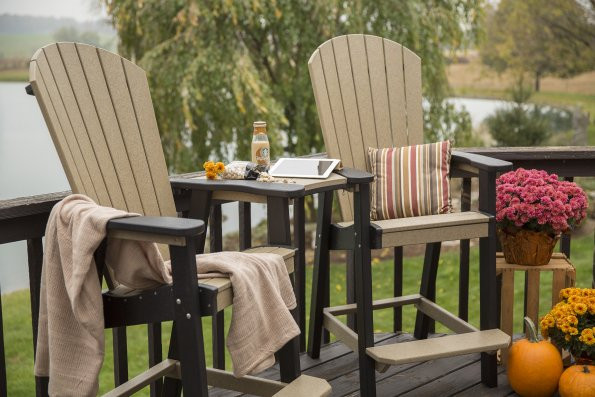Great Bay Poly Bar Chairs with attachments shown - Weatherwood & Black - Chairs sold separately