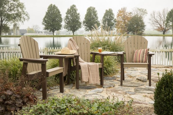 Great Bay Poly Chairs with attachments shown - Weatherwood & Black - Chairs sold separately