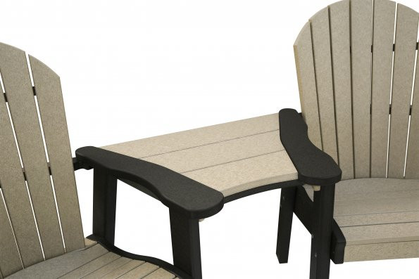 Great Bay Poly Table Attachment - Weatherwood & Black - Chairs sold separately