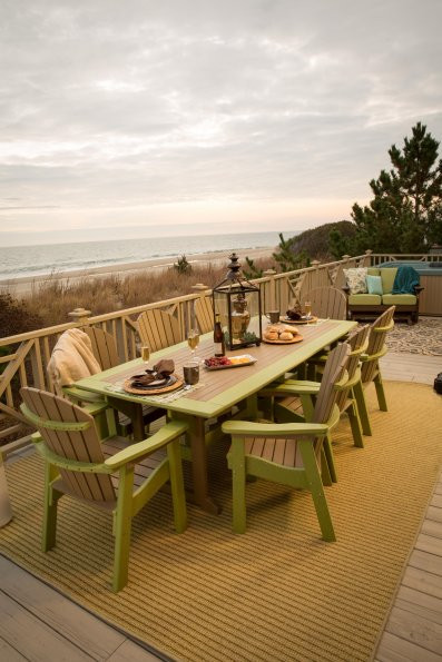 Great Bay Poly Table - Weatherwood & Lime Green - Chairs sold separately